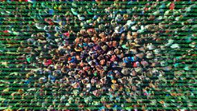 stock image of  digital technologies and people crowd control background. deep learning and intelligence concept.