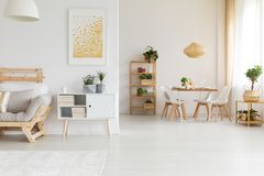 stock image of  dining and living room