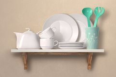 stock image of  dishes on a wooden shelf