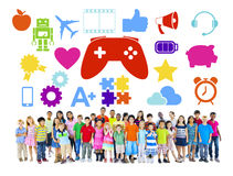 stock image of  diverse group of children with hobbies