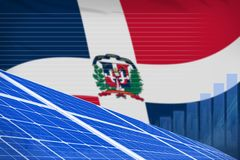 stock image of  dominican republic solar energy power digital graph concept - environmental natural energy industrial illustration. 3d