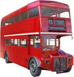 stock image of  double decker london bus isolated, red
