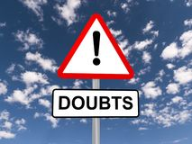 stock image of  doubts warning