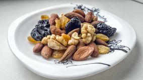 stock image of  dried fruits and nuts.