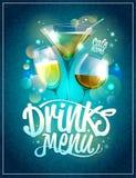 imagine stock despre  băuturi meniu proiectare cu cocktailuri