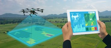 stock image of  drone for agriculture, drone use for various fields like research analysis, safety,rescue, terrain scanning technology, monitoring