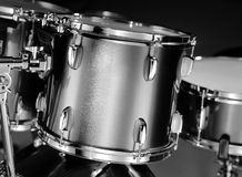 stock image of  drum-kit closeup in b&w