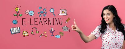 stock image of  e-learning with young woman