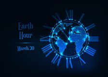 stock image of  earth hour poster with glowing low polygonal earth planet globe, roman clock and text on dark blue.