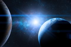 stock image of  earth in the outer space with beautiful planet. blue sunrise.