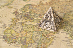 stock image of  egypt pyramid on map