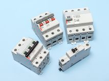 stock image of  electrical circuit breakers