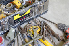 stock image of  electrical renovation work, many hand tools
