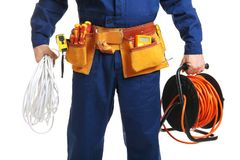 stock image of  electrician with special tools