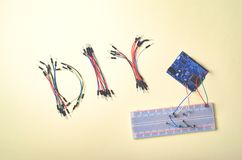 stock image of  electronic components for robotics and microcontrollers, diy, stem education