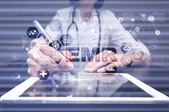 stock image of  electronic health record. ehr, emr. medicine and healthcare concept. medical doctor working with modern pc.