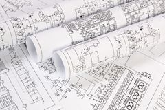 stock image of  printed drawings of electrical circuits. science, technology and electronics