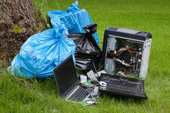 stock image of  electronics in a forest