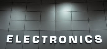 stock image of  electronics sign