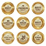stock image of  elegant gold seal labels quality product