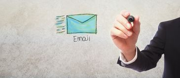 stock image of  email with businessman