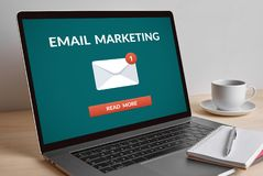 stock image of  email marketing concept on modern laptop computer screen