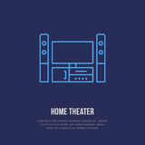 stock image of  entertainment system with blank screen flat line icon. wireless technology, home theater sign. vector illustration of