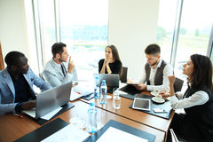 stock image of  entrepreneurs and business people conference in modern meeting room.