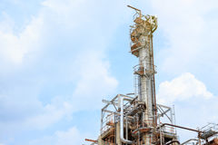 stock image of  the equipment of oil refining, detail of oil pipeline with valves in large oil refinery, industrial zone.