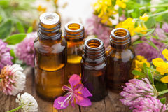 stock image of  essential oils and medical flowers herbs