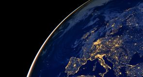 stock image of  europe city lights on world map. europe. elements of this image are furnished by nasa