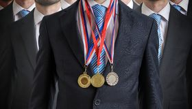 stock image of  extraordinary successful employee was awarded for his excellent skills