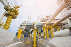 stock image of  fail to close type of actuated control valve in oil and gas central processing platform.