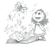 stock image of  fairy tales book bw