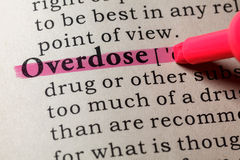 stock image of  definition of overdose