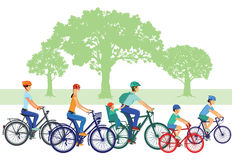 stock image of  families on bikes