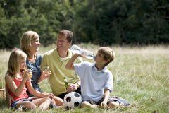 stock image of  a family sitting on the grass, having a picnic
