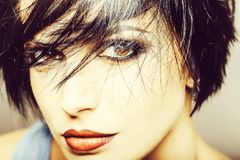 stock image of  fashionable pretty woman with makeup
