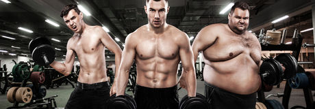 stock image of  fat, fit and athletic men. ectomorph, mesomorph and endomorph. sport concept. before and after result. group of three