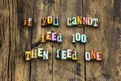 stock image of  feed share food caring help homeless typography