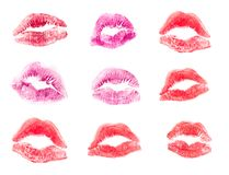 stock image of  female lips lipstick kiss print set for valentine day and love illustration isolated on white background