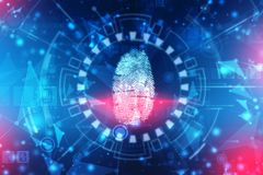 stock image of  finger print scanning identification system. biometric authorization and business security concept