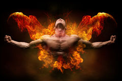 stock image of  on fire bodybuilder