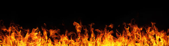 stock image of  fire flames on black background