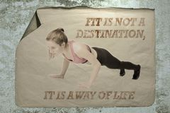 stock image of  fit is not a destination it is a way of life