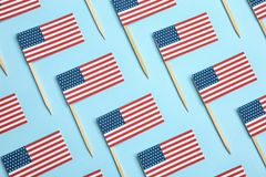stock image of  flat lay composition of usa flags. happy independence day
