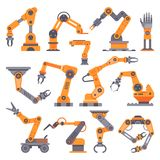 stock image of  flat manufacture robotic arm. automatic robot arms, auto factory conveyor industrial equipment. electronics robots hands