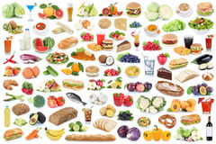 stock image of  food and drink collection collage healthy eating fruits vegetables fruit drinks isolated