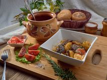 stock image of  food, meat, beef, meal, dinner, vegetable, stew, potato, cuisine, pork, chicken, plate, dish, lunch, gourmet, carrot, sauce, veget
