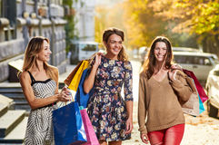 stock image of  four women. shopping freetime